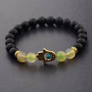 Hamsa Hand of Fatima Natural Lava Stone Gold Silver Beads Man Lucky Bracelets
