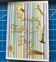 Fathers Day Card Gold Tools For Dad Blue Stripes Handmade
