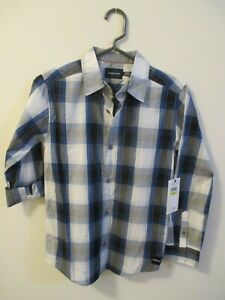 CALVIN KLEIN JEANS BOYS SHIRT NEW WITH TAGS M 10/12 NAVY  LONG SLEEVE