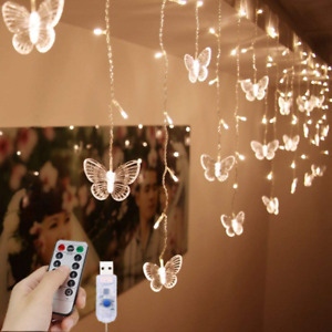 LED Curtain Lights USB Starry 48LED Butterfly lights Warm White