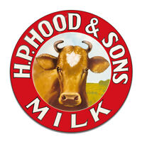 Hood Milk H.P and Sons Milk Cows Dairy Cow Kitchen Round MDF Wood Sign