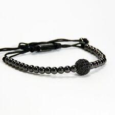 Men And Womens Beads Bracelet 1 Ball Inlaid Black Crystal 24k Black Gold Plating