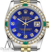 Rolex 26mm Ladies Datejust 18K & SS Blue Color Treated MOP Emerald Diamond