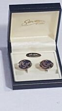 Stratton of London Cufflinks Boxed Oval Enamelled Blue & Black on Gold No26