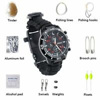 Waterproof Survival Tactical Emergency Watch Bracelet Fire Starter Compass Kit