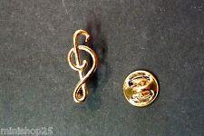 Pins pin's 2D note musique clé de sol  couleur doré ( PL7 )