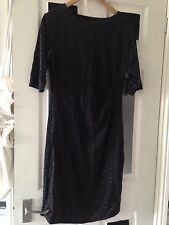 £44.99 reflections 14/16 large Black silver Sparkle Evening Party Wiggle  dress