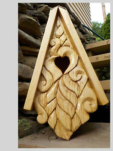"""NEW Unique Heart Bird House Hand Carved Rustic Face Wood Spirit 16"""""""