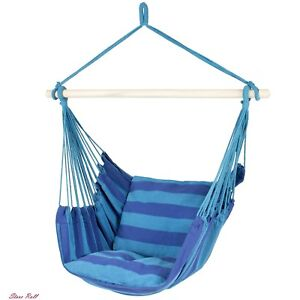 Porch Swing Seat Hanging Rope Chair Patio Camping Portable Blue Stripe Home New