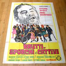 BRUTTI SPORCHI E CATTIVI poster manifesto Manfredi Scola Sedia a Rotelle Zoppo