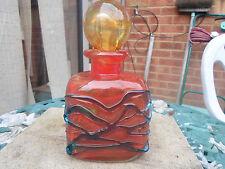 Vintage Mdina Orange And Blue Trailed Art Glass  Decanter / Perfume Bottle