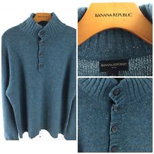Banana Republic Men's Large Green Pullover 1/2 Button Sweater Q-97