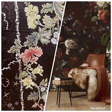 Designer Brocade Satin Fabric- Brown - Floral Damask- Upholstery