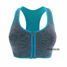 Padded Seamless Crop Athletic Sport Yoga Fitness Bra Top Zip Front Plain 0323