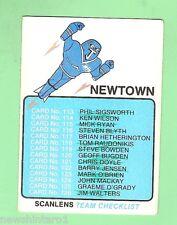 1981 NEWTOWN JETS   SCANLENS RUGBY LEAGUE CHECKLIST CARD, MARKED