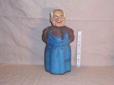 Vintage Carved Monk Bottle Large Anri / Black Forest Bottle Body Head Stopper