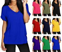Women Batwing Sleeve Oversized Baggy Loose Fit Turn Up Top Ladies V Neck T Shirt