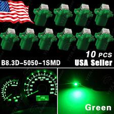 10X Green T5 B8 B8.3D 3-Cell 5050 1-SMD Instrument Dash Gauge Cluster LED Light