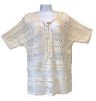 GERARD DAREL Beige Crochet Macrame Lace Trendy Knit Top Jumper Boho Chic 2 14