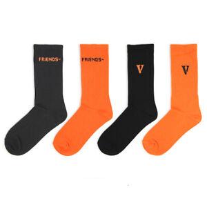 New ASAP Bari VLONE Merch Friends V Logo Custom Crew Sport Socks Orange Black