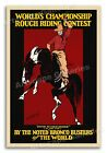 Vintage Style 1903 Rodeo Poster - Rough Rider Bronc Riding Contest - 16x24