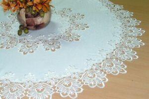 Lace Victorian style tablecloth table runner doily oval diameter 40 to 200 cm