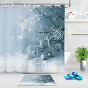 Christmas Baubles Snowflakes Deer Statue Shower Curtain Set Bathroom Decor 180cm