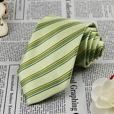 Men Olive Green Stripes Tie Wedding Groom Jacquard Woven 100% Silk Necktie FS32