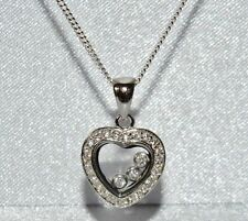 Sterling Silver (925) Floating Diamond Heart Pendant & Chain - Excellent Quality