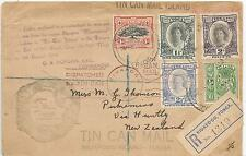 TONGA 1938 REGD ENV TO NZ MULTI-FRANKED MANY CACHETS NICE ITEM ,SEE SCANS