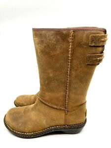 UGG Haywell Boot Tan Suede Fur Lined Mid Calf Rubber Sole Elastic Straps Size 8