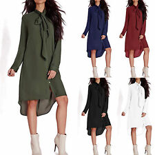 Women Casual Long Sleeve Chiffon Dresses Bow Tie T-Shirt Loose Tops Plus Size