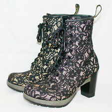 DR. MARTENS Darcie Black Lace Gold Inlay Diva Boot Wo's 5 Eu 38 High Heel