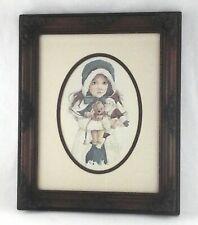 JAN HAGARA 1984 Signed Art Print Victorian Girl Santa/Teddy Framed Signed 26/50
