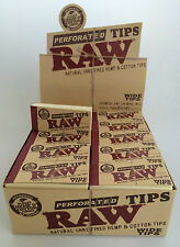 Raw Wide Perforated Smoking Tips 50 Booklet Box Natural Chlorine Free Roll Roach