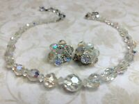 Vintage Aurora Borealis Unbranded Beaded Necklace Choker w Clip Earrings Retro