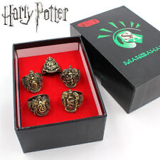 Harry Potter Gryffindor Hufflepuff Ravenclaw School Crest ring set 5pc With Box