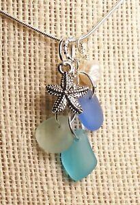 COASTAL BLUES Sea glass jewelry handmade cluster w STARFISH +PEARL Necklace