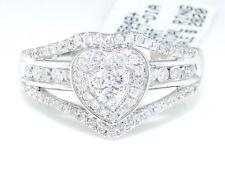 14k White Gold Round Cut Engagement Bridal Heart Love Diamond Ring 0.51 Ct