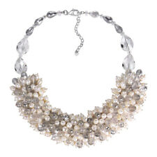 Infinite Blossoms White Pearl and Crystal Medley Necklace