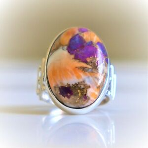 OYSTER COPPER TURQUOISE NATURAL GEMSTONE 925 STERLING SILVER JEWELRY RING