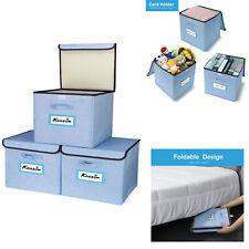 3PK Foldable Square Fabric Storage Bin Collapsible Box Cloth Organizer Cube Lid