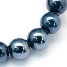 Porcelain Round Beads 10mm Dark Blue 20 Pcs Pearlised Art Hobby Jewellery Making