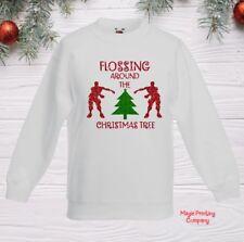 Kids CHRISTMAS JUMPER FLOSSING AROUND TREE Sweatshirt BoyS Girls outfit Gift