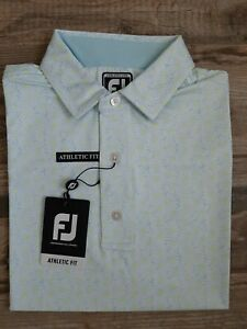 NEW FootJoy Mens Lisle Daisy Print Golf Polo Medium Ice Blue 26547
