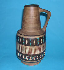 West German Studio Pottery - Attractive Stylish Handled Vase With Cut-Out Design