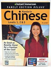 NEW Instant Immersion Family Deluxe Mandarin Chinese Levels 1 2 3 PC/Mac/Tablet
