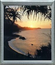 Tropical Sunset At Ocean Beach Scenery Wall Decor Silver Framed Picture (20x24)