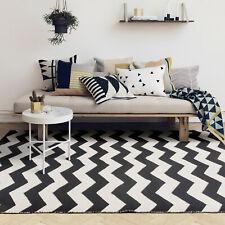 Floor Rug Black White Handmade Cotton Chervon Geometric  Modern Carpet 155x225cm