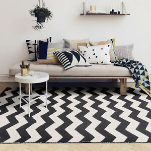 Floor Rug Monochrome Black White Cotton Chervon Zig Zag Modern Geometric Carpet